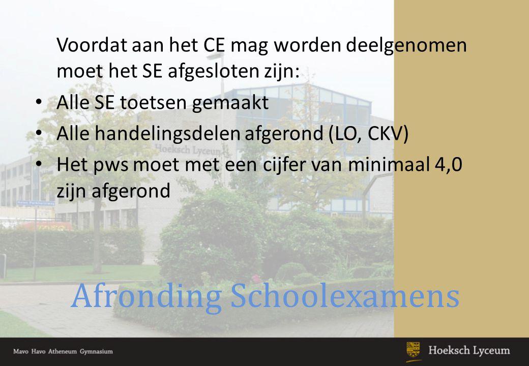 Afronding Schoolexamens