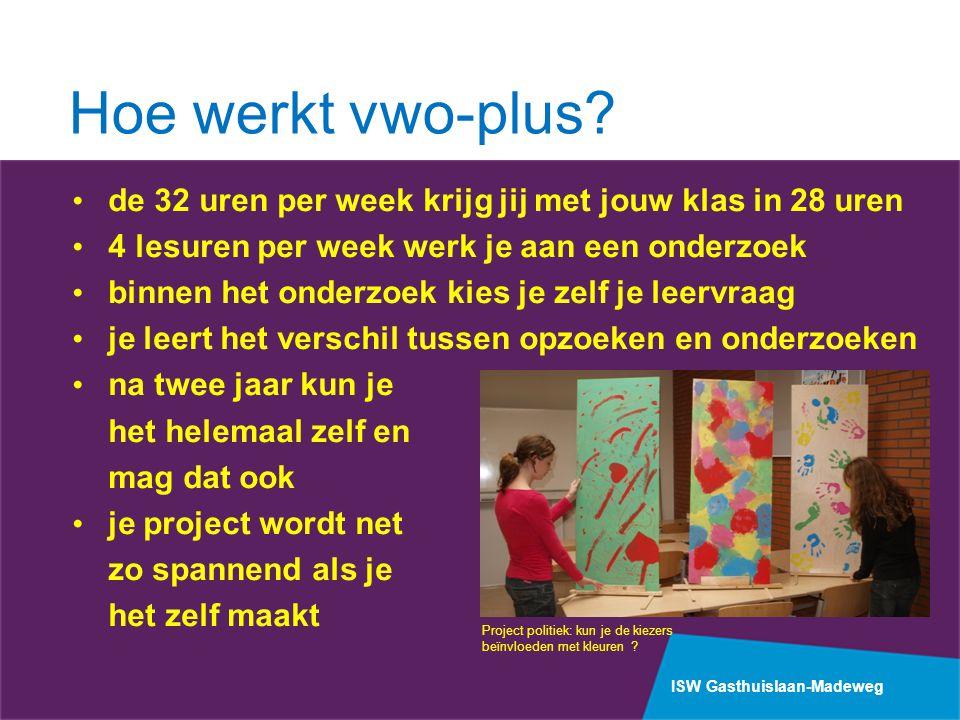 Hoe werkt vwo-plus de 32 uren per week krijg jij met jouw klas in 28 uren. 4 lesuren per week werk je aan een onderzoek.
