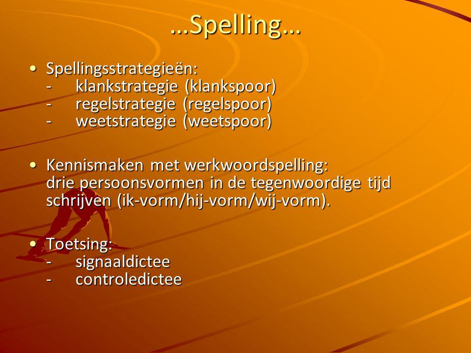 …Spelling… Spellingsstrategieën: - klankstrategie (klankspoor) - regelstrategie (regelspoor) - weetstrategie (weetspoor)