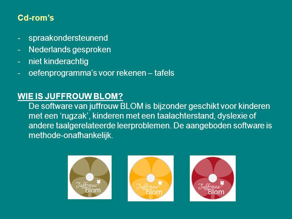 Cd-rom's spraakondersteunend. Nederlands gesproken. niet kinderachtig. oefenprogramma's voor rekenen – tafels.