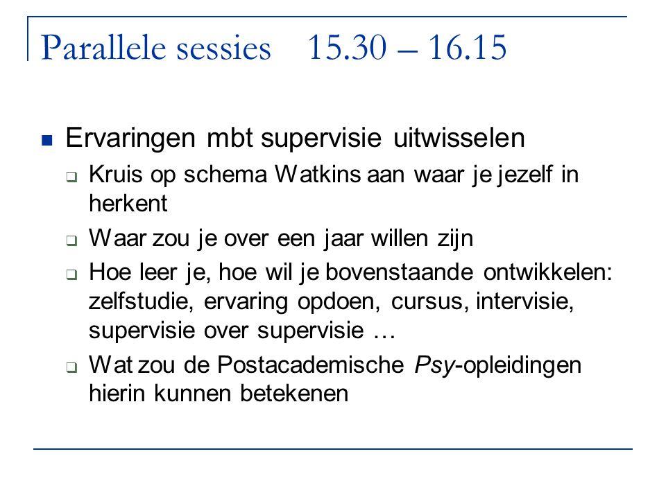 Parallele sessies 15.30 – 16.15 Ervaringen mbt supervisie uitwisselen