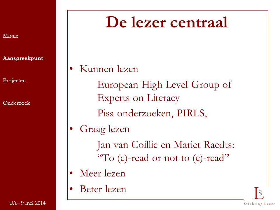 De lezer centraal Kunnen lezen