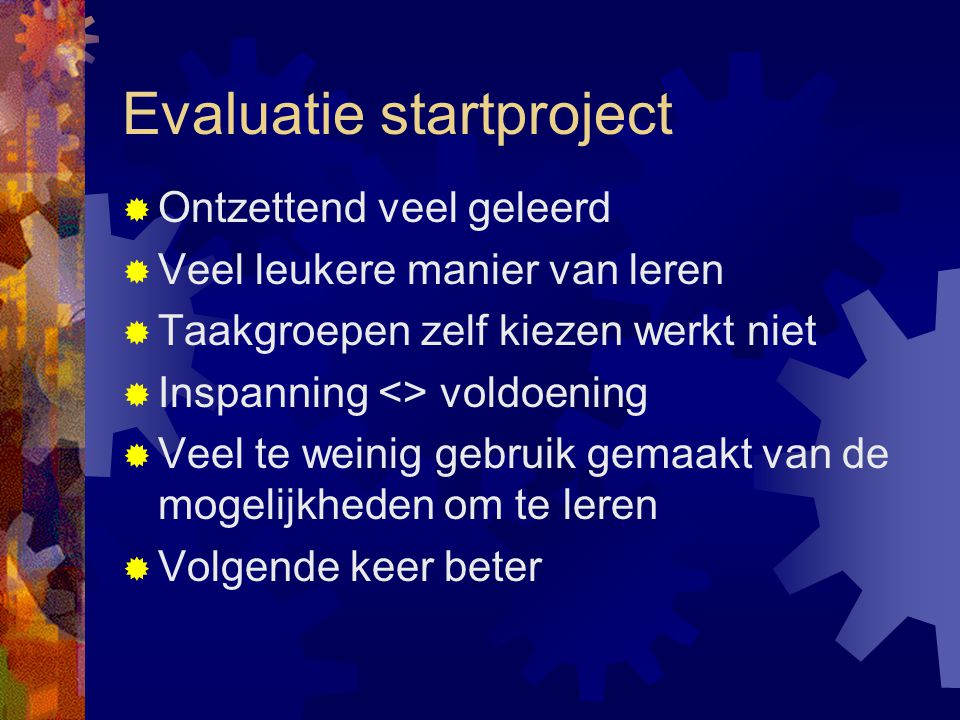 Evaluatie startproject