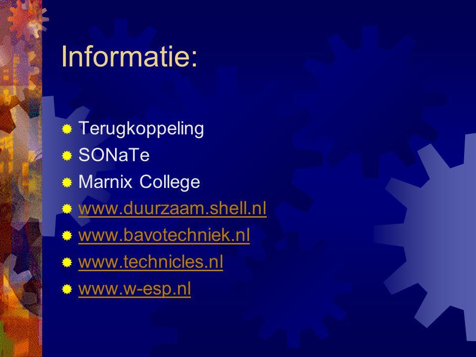 Informatie: Terugkoppeling SONaTe Marnix College www.duurzaam.shell.nl