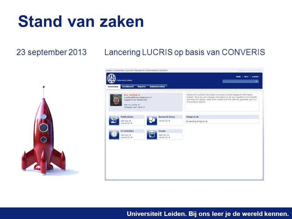 Stand van zaken 23 september 2013 Lancering LUCRIS op basis van CONVERIS