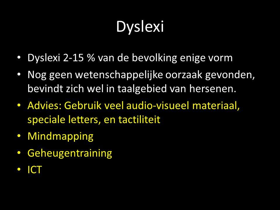 Dyslexi Dyslexi 2-15 % van de bevolking enige vorm