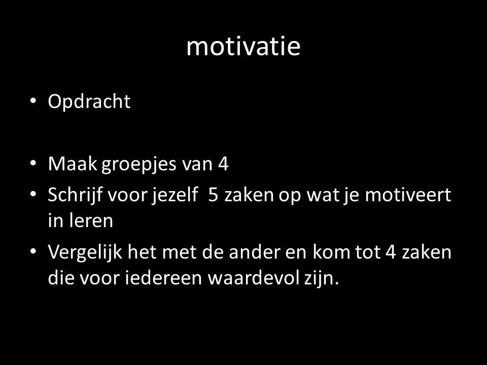 motivatie Opdracht Maak groepjes van 4