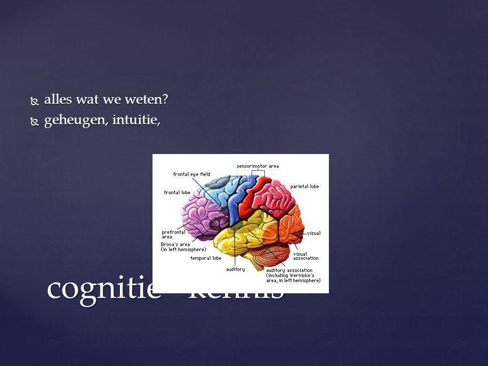 alles wat we weten geheugen, intuitie, cognitie= kennis