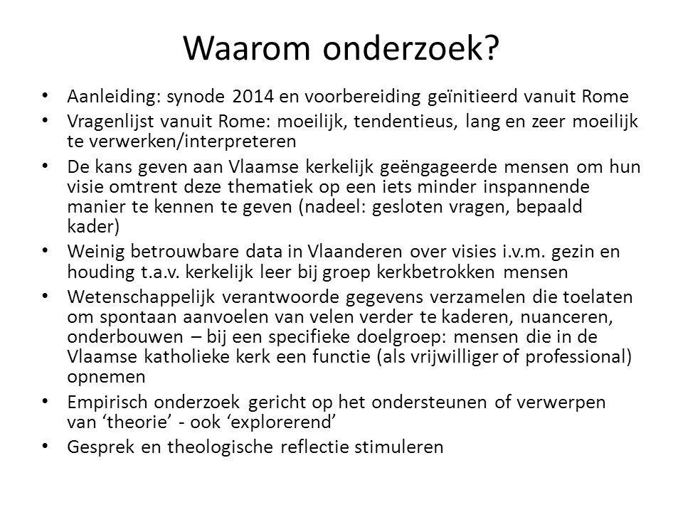 Waarom onderzoek Aanleiding: synode 2014 en voorbereiding geïnitieerd vanuit Rome.
