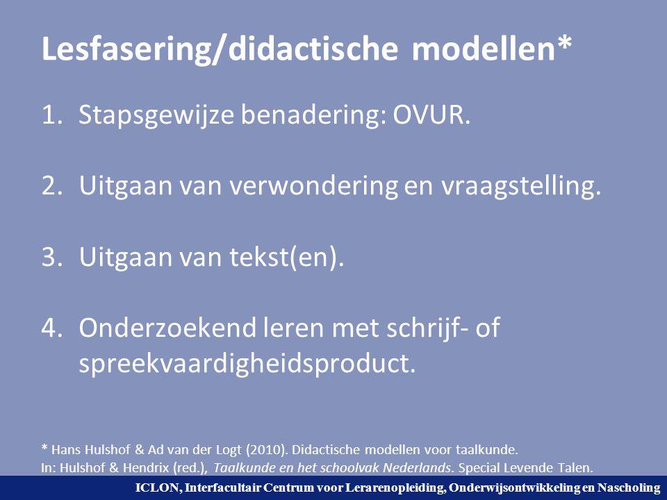 Lesfasering/didactische modellen*