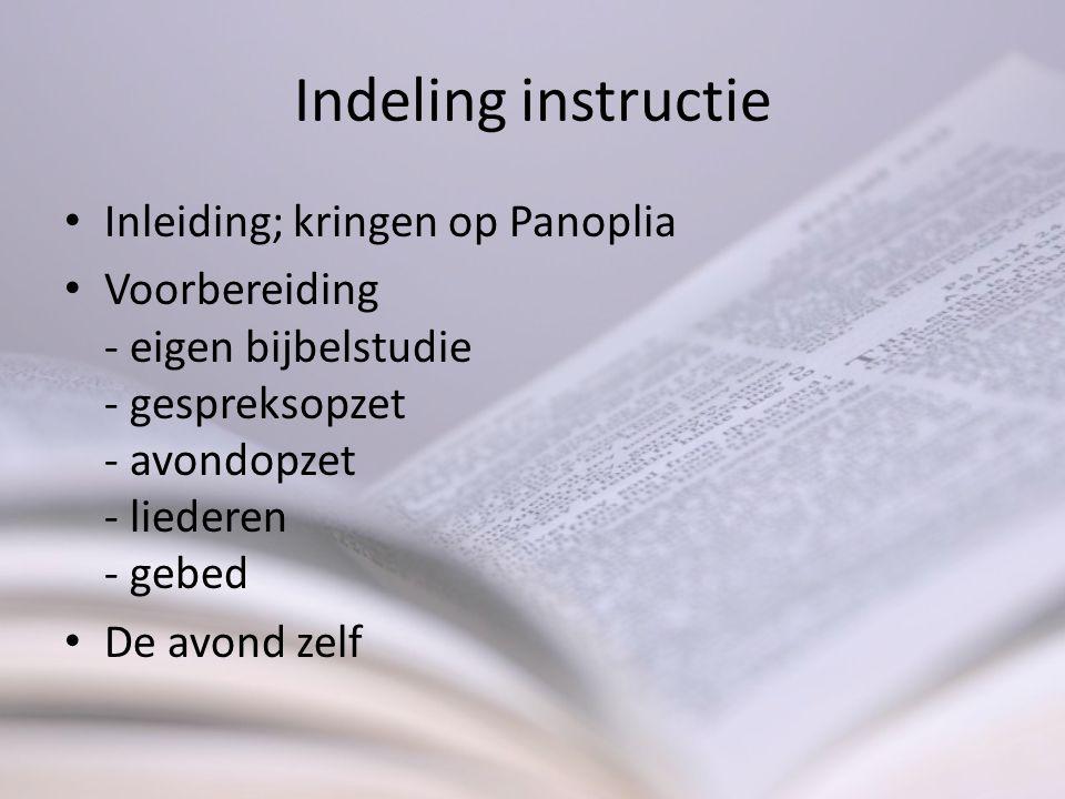 Indeling instructie Inleiding; kringen op Panoplia
