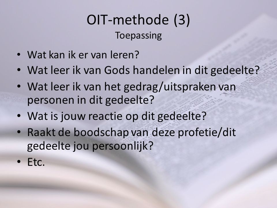 OIT-methode (3) Toepassing