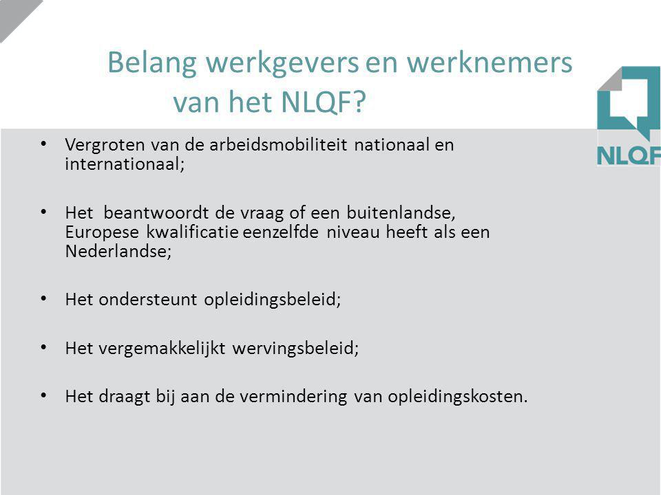 Belang werkgevers en werknemers van het NLQF