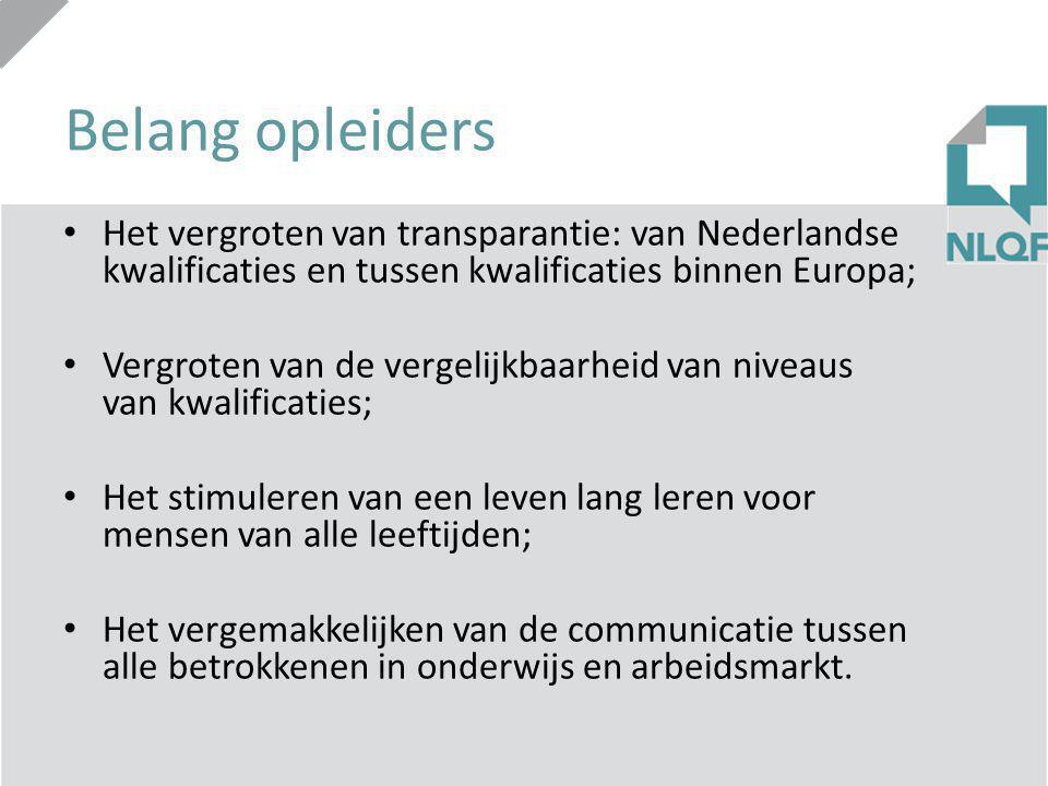 Belang opleiders Het vergroten van transparantie: van Nederlandse kwalificaties en tussen kwalificaties binnen Europa;