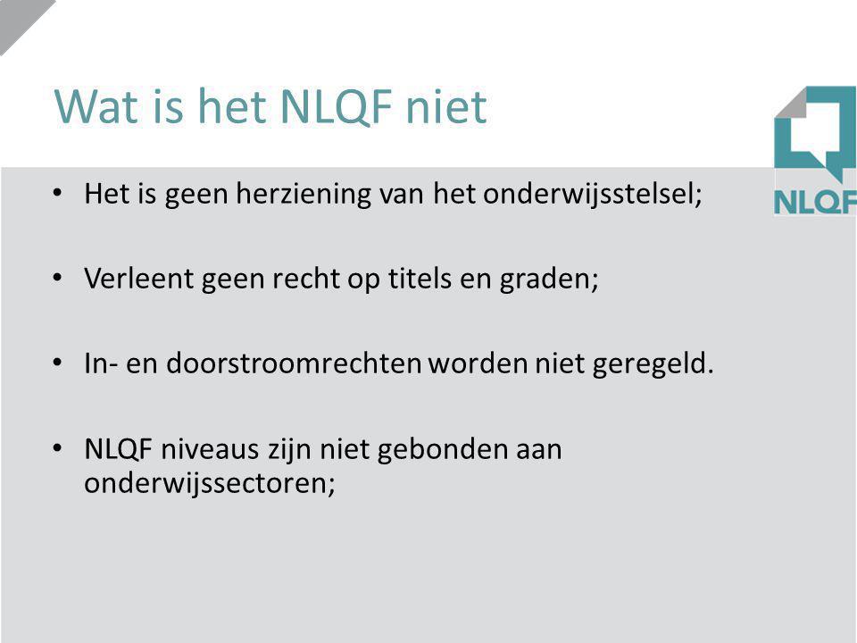 Wat is het NLQF niet Het is geen herziening van het onderwijsstelsel;