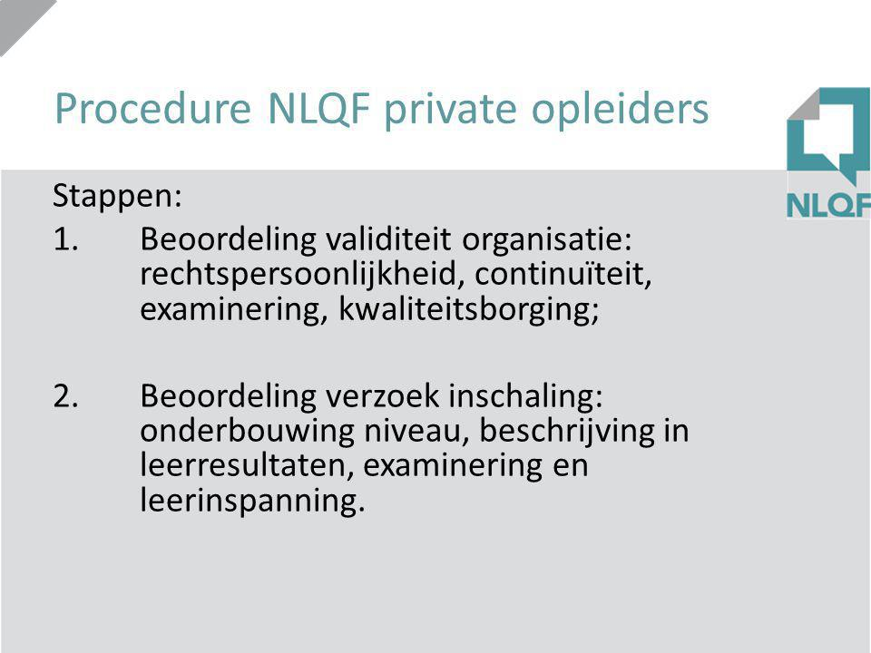 Procedure NLQF private opleiders