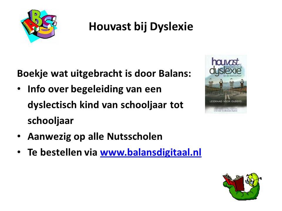 Houvast bij Dyslexie Boekje wat uitgebracht is door Balans: