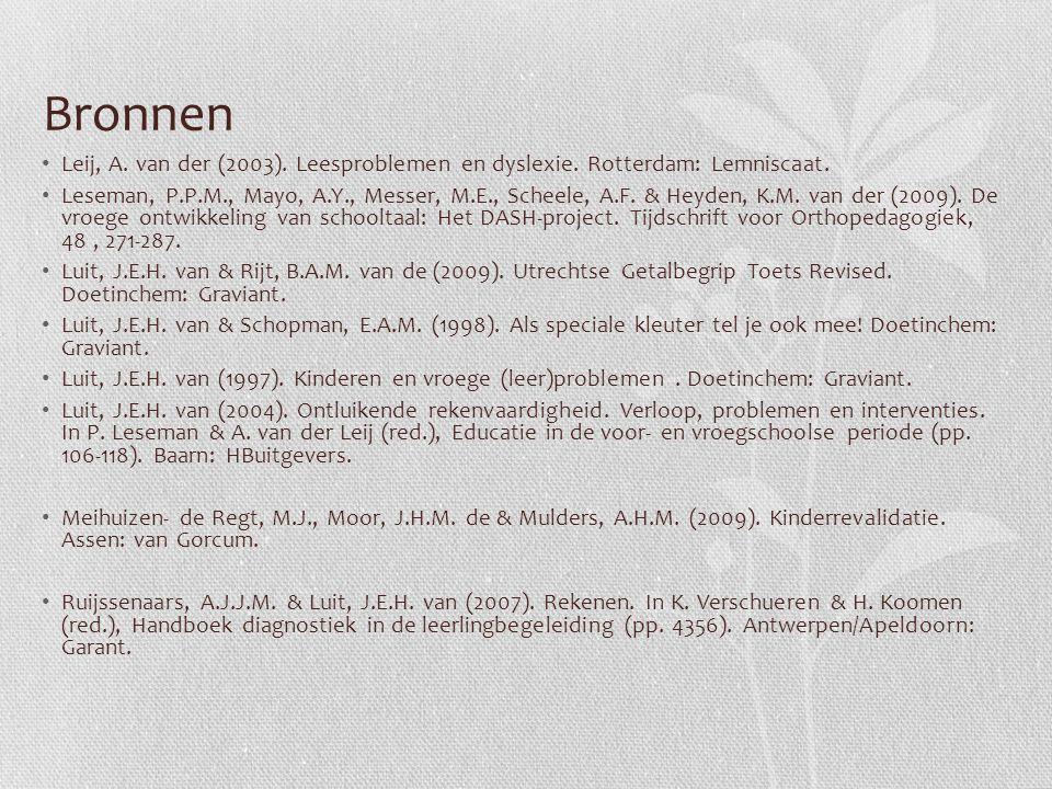 Bronnen Leij, A. van der (2003). Leesproblemen en dyslexie. Rotterdam: Lemniscaat.