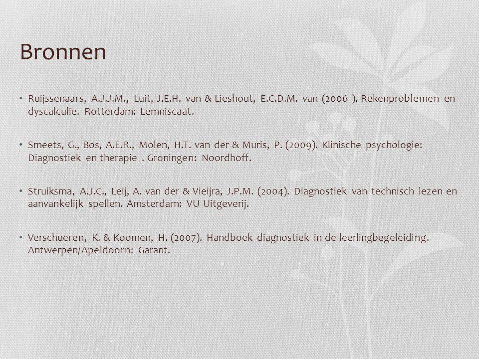 Bronnen Ruijssenaars, A.J.J.M., Luit, J.E.H. van & Lieshout, E.C.D.M. van (2006 ). Rekenproblemen en dyscalculie. Rotterdam: Lemniscaat.