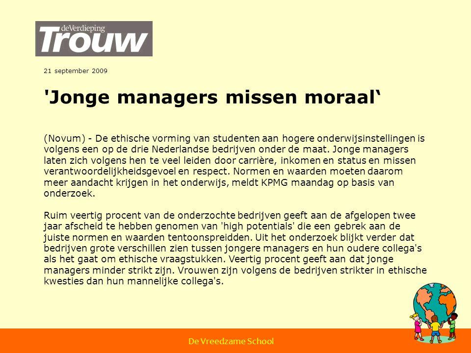 Jonge managers missen moraal'