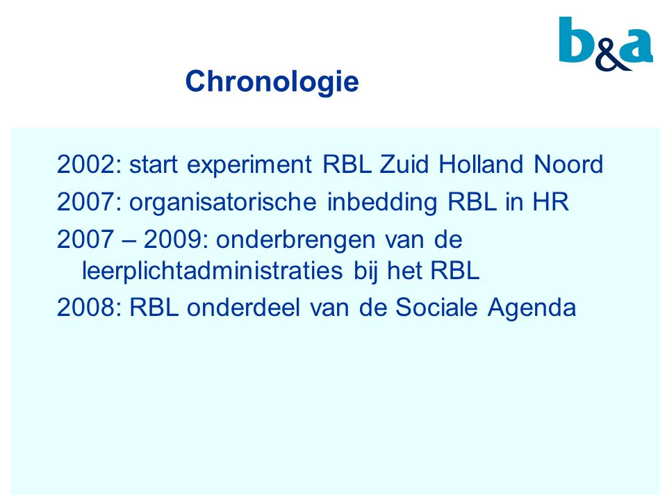 Chronologie 2002: start experiment RBL Zuid Holland Noord
