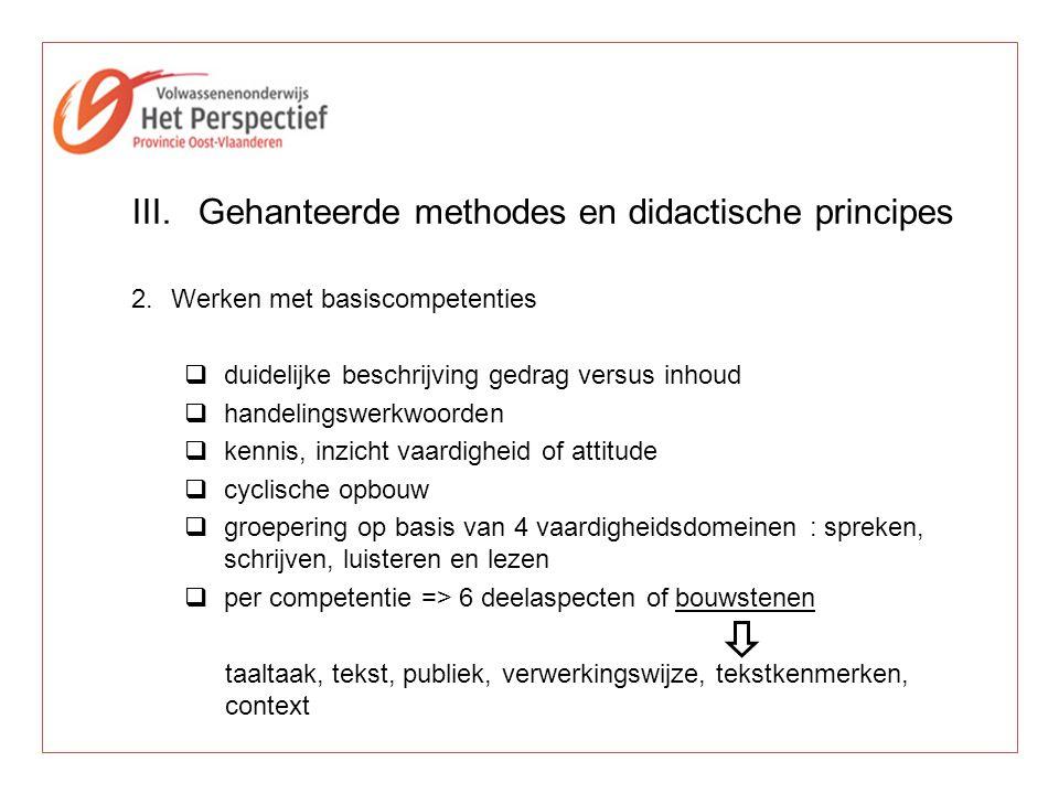 Gehanteerde methodes en didactische principes