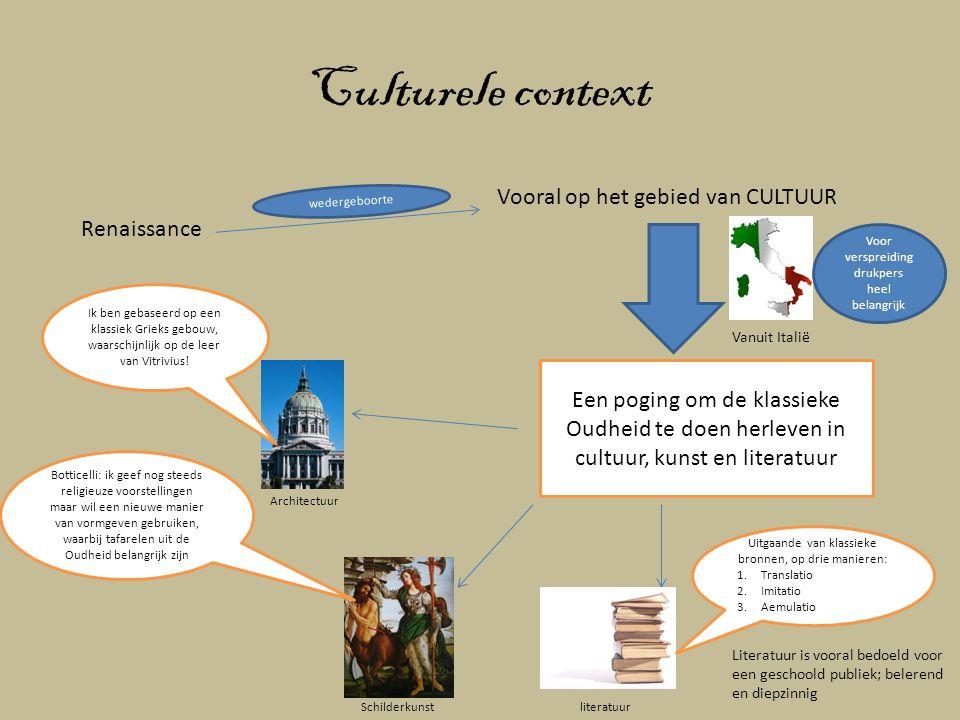 Culturele context Vooral op het gebied van CULTUUR Renaissance