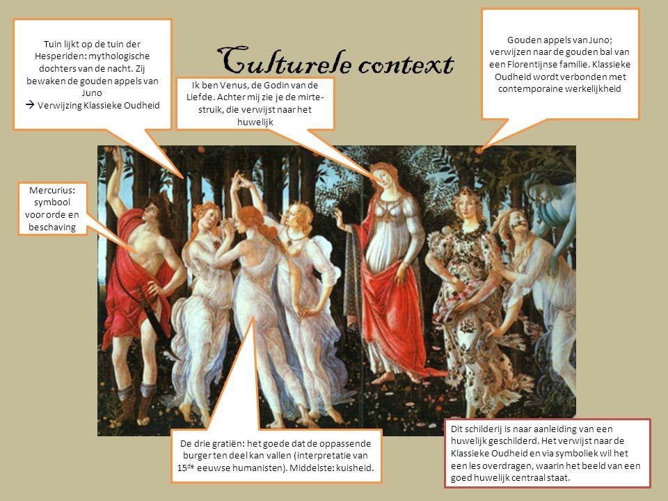 Gouden appels van Juno; verwijzen naar de gouden bal van een Florentijnse familie. Klassieke Oudheid wordt verbonden met contemporaine werkelijkheid