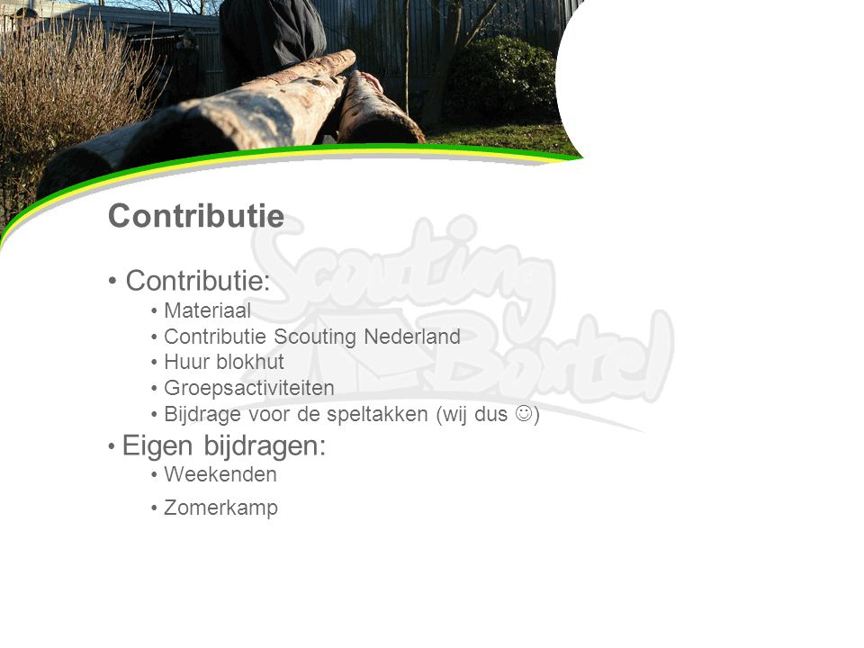 Contributie Contributie: Eigen bijdragen: Materiaal