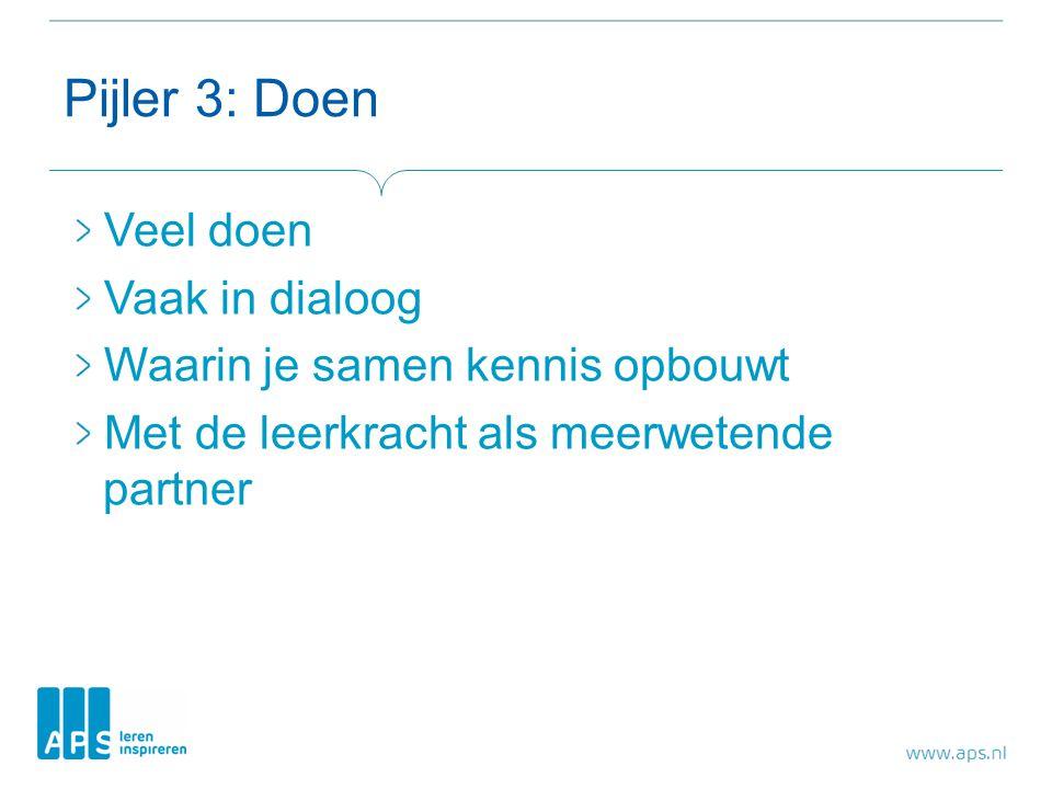 Pijler 3: Doen Veel doen Vaak in dialoog