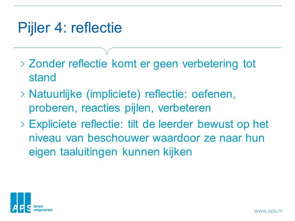 Pijler 4: reflectie Zonder reflectie komt er geen verbetering tot stand.