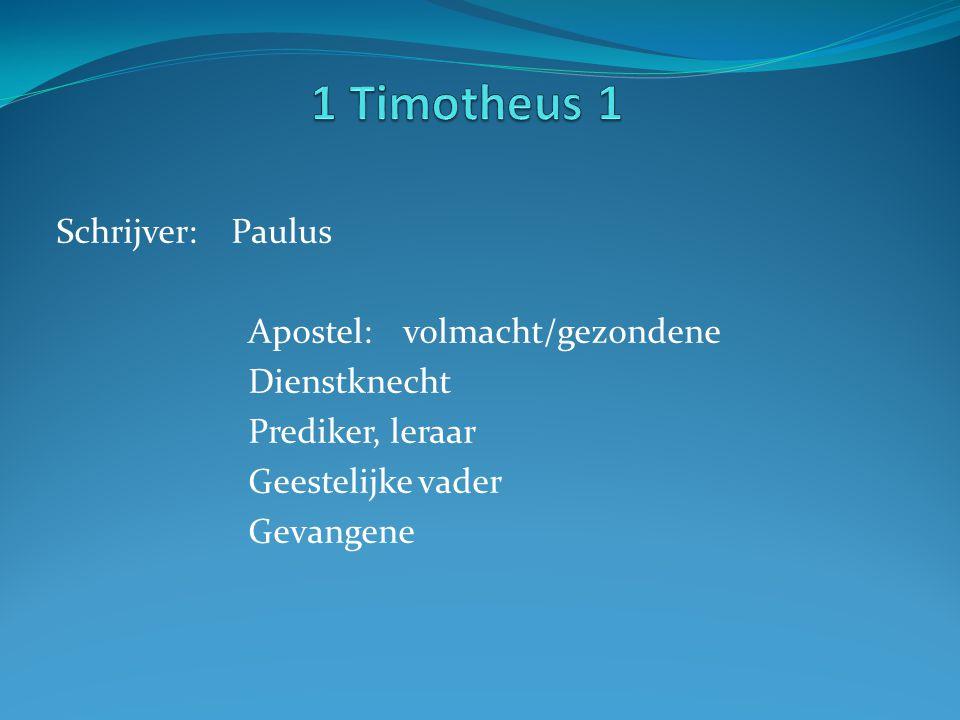 1 Timotheus 1 Schrijver: Paulus Apostel: volmacht/gezondene