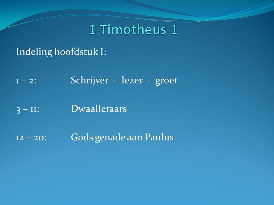 1 Timotheus 1 Indeling hoofdstuk I: 1 – 2: Schrijver - lezer - groet