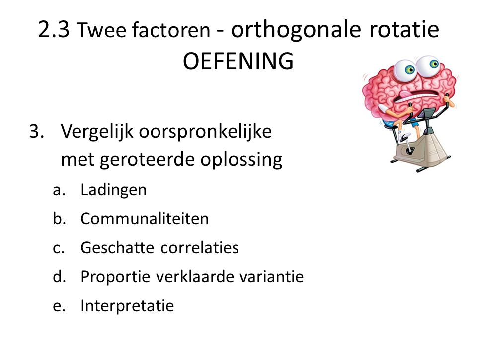 2.3 Twee factoren - orthogonale rotatie OEFENING