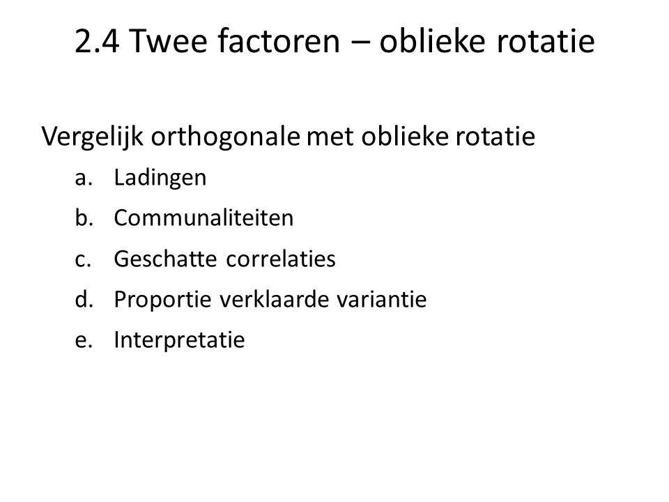 2.4 Twee factoren – oblieke rotatie