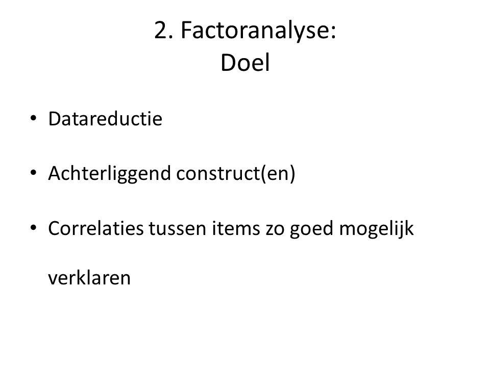2. Factoranalyse: Doel Datareductie Achterliggend construct(en)
