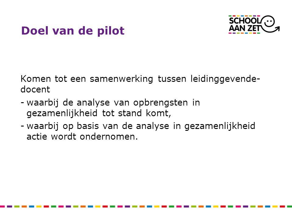 Doel van de pilot Komen tot een samenwerking tussen leidinggevende-docent. waarbij de analyse van opbrengsten in gezamenlijkheid tot stand komt,