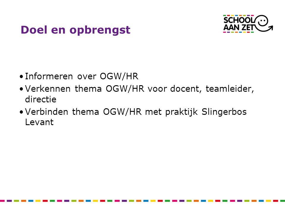 Doel en opbrengst Informeren over OGW/HR