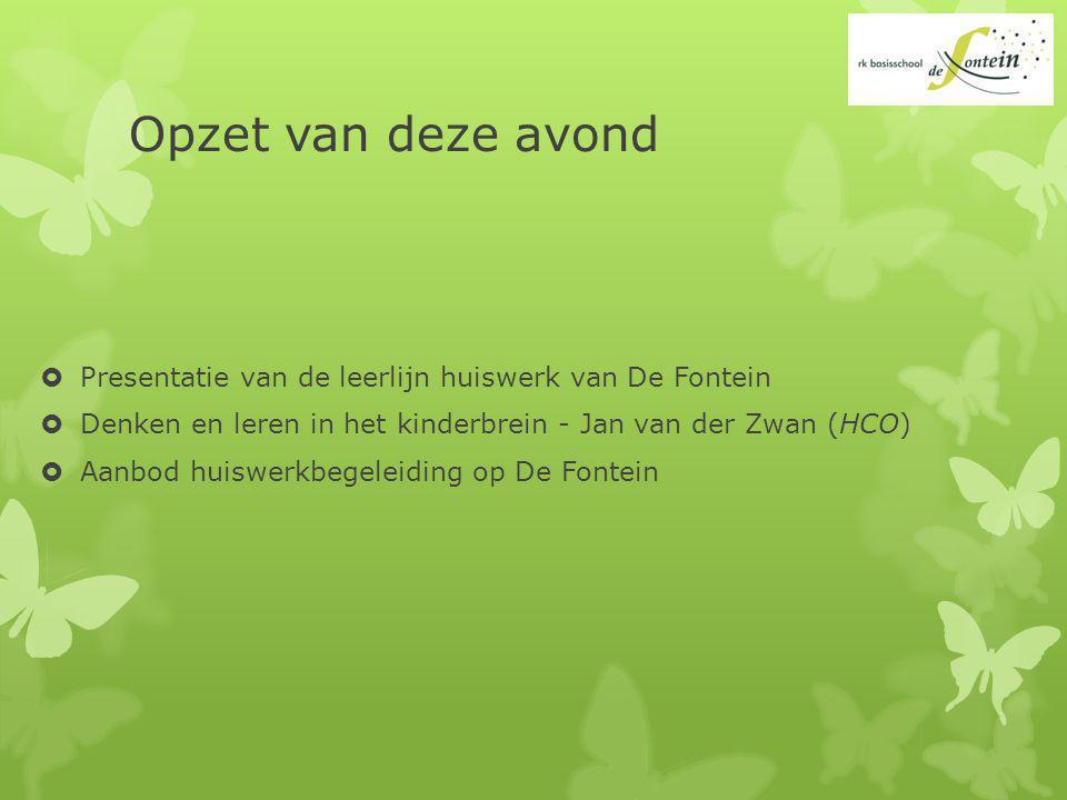Opzet van deze avond Presentatie van de leerlijn huiswerk van De Fontein. Denken en leren in het kinderbrein - Jan van der Zwan (HCO)