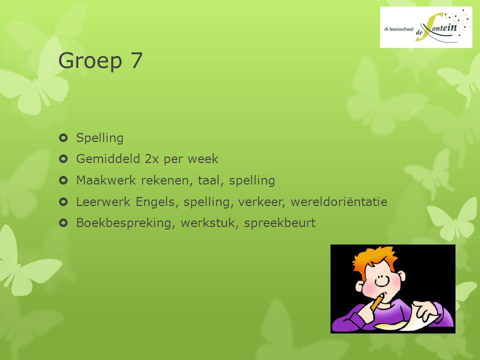 Groep 7 Spelling Gemiddeld 2x per week
