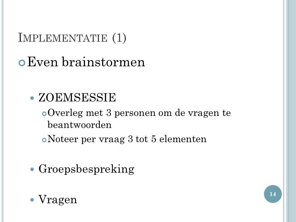 Even brainstormen Implementatie (1) ZOEMSESSIE Groepsbespreking Vragen