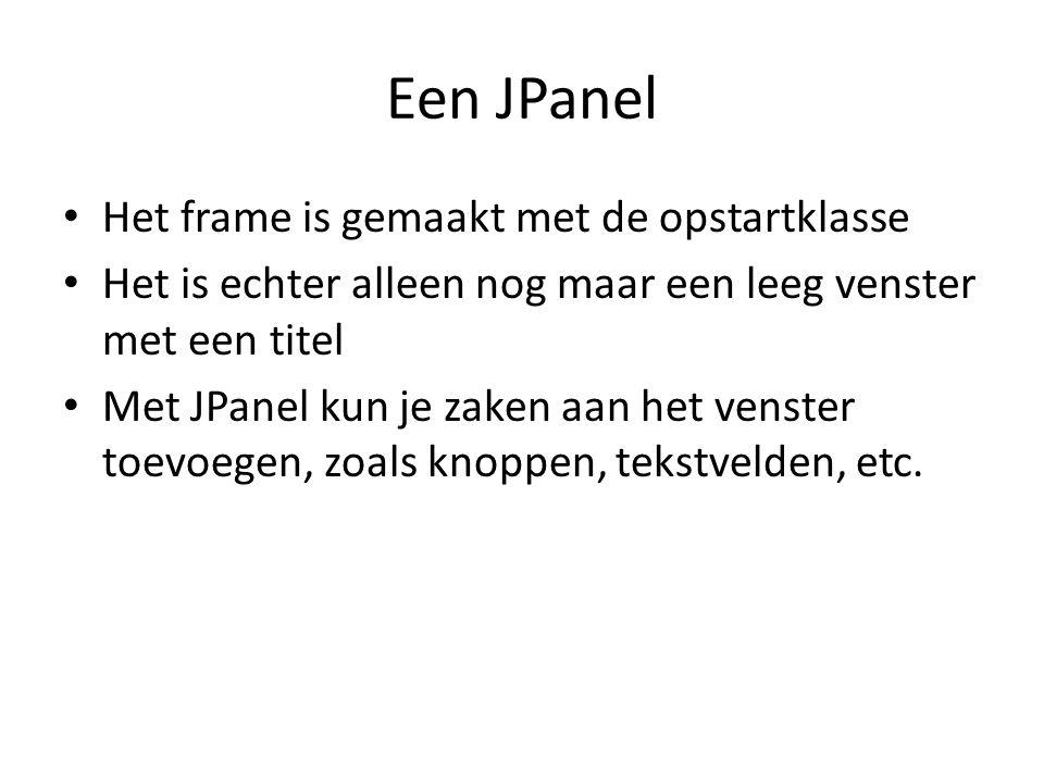 Een JPanel Het frame is gemaakt met de opstartklasse
