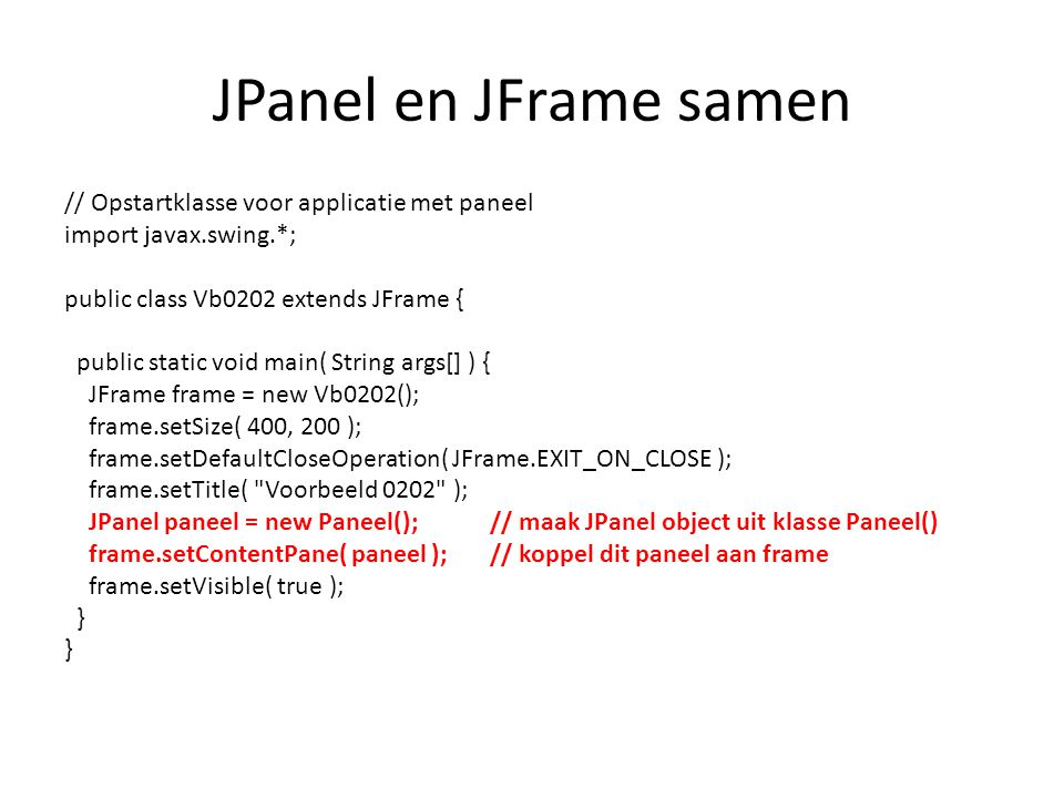 JPanel en JFrame samen