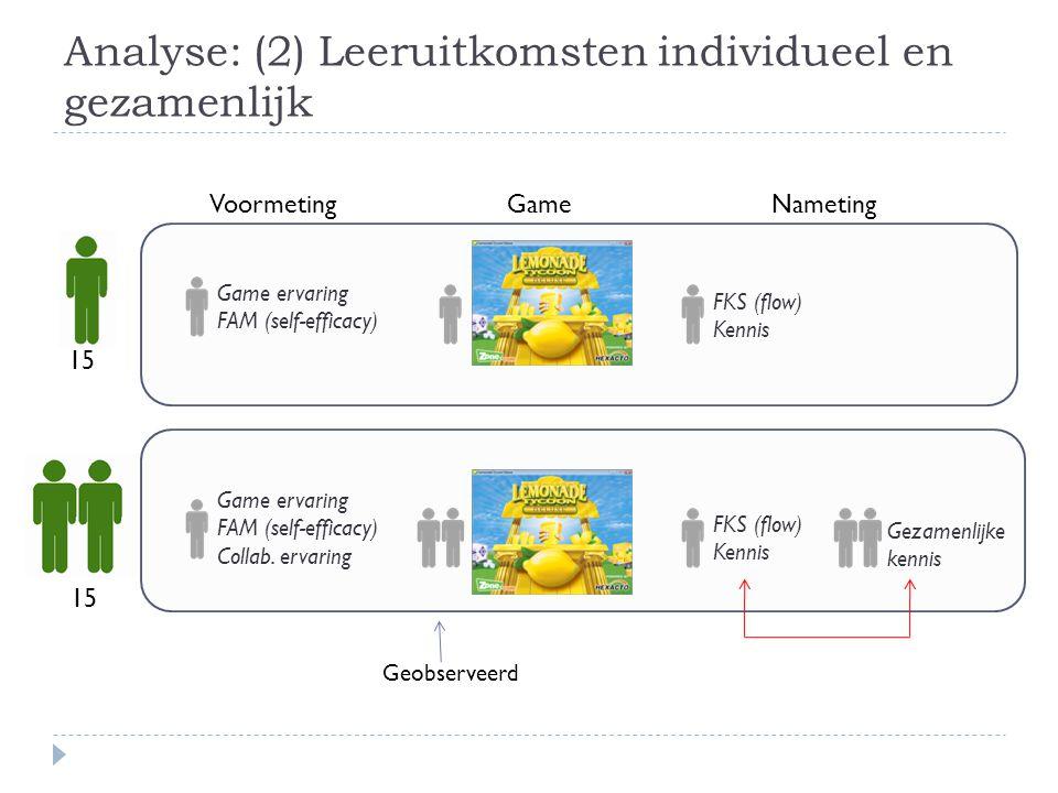 Analyse: (2) Leeruitkomsten individueel en gezamenlijk
