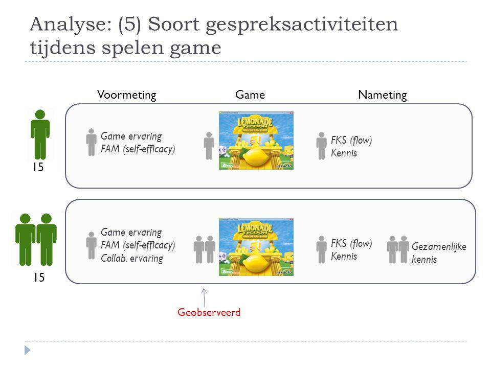 Analyse: (5) Soort gespreksactiviteiten tijdens spelen game