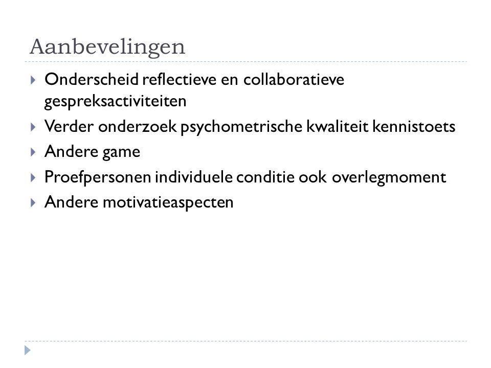Aanbevelingen Onderscheid reflectieve en collaboratieve gespreksactiviteiten. Verder onderzoek psychometrische kwaliteit kennistoets.