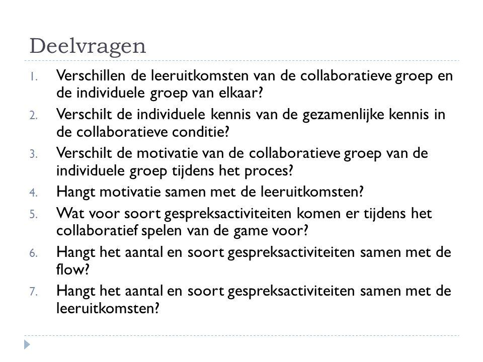 Deelvragen Verschillen de leeruitkomsten van de collaboratieve groep en de individuele groep van elkaar