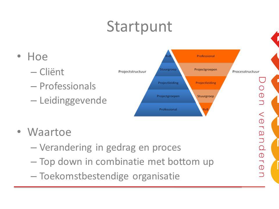 Startpunt Hoe Waartoe Cliënt Professionals Leidinggevende