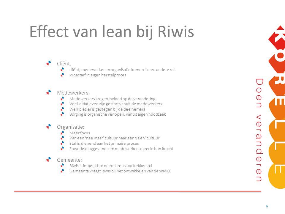 Effect van lean bij Riwis