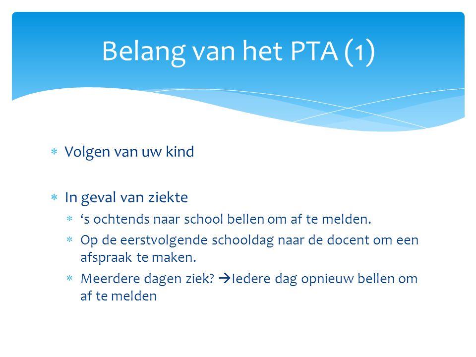 Belang van het PTA (1) Volgen van uw kind In geval van ziekte